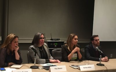 From left) Natan Fund Executive Director Felicia Herman, University of Michigan Hillel Executive Director Tilly Shames, ADL Director of Technology and Society Brittan Heller and Tablet senior writer Yair Rosenberg discuss contemporary anti-Semitism at the JFN conference March 20 at the Grand Hyatt Buckhead