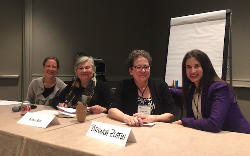 Ana Robbins and Esther Foer provide the perspective of nonprofits receiving funding, and Brenda Zlatin and Lesley Matsa offer the views of grant-making organizations at a JFN session on strengthening the Jewish future through better funding processes
