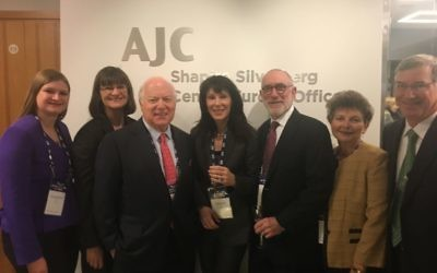 (From left) Jacqueline and Belinda Morris, Bill Schwartz, Melanie and Allan Nelkin, and Janice and Richard Ellin visit AJC's new Central Europe office.