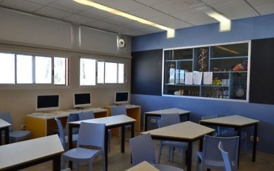 New chairs and desks in the science lab provide a better learning environment for students at Hodayot.