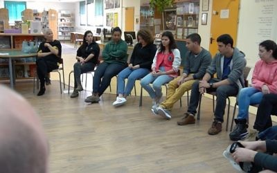 Students from Rabin high school share a short presentation of programs they are involved in such as Meet at five (math program), social involvement (Magen David Adom) and collaborative problem solving.