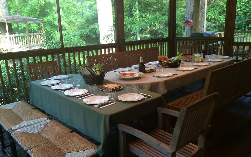 The table is set for the seder at the Sanders household.