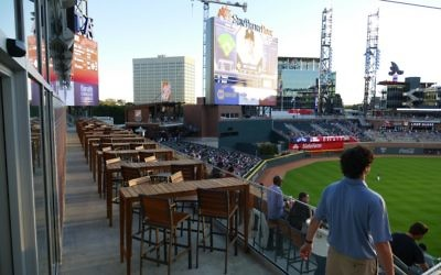 Guests at SunTrust Park have many options for in-game dining, including the Hank Aaron Club in left field.