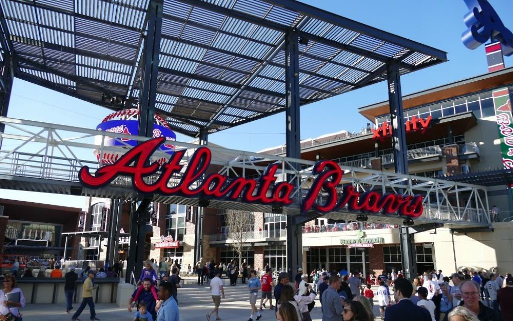The Atlanta Braves sign just outside the park is one of many Todd Starr's team at Altair Sign and Light installed.
