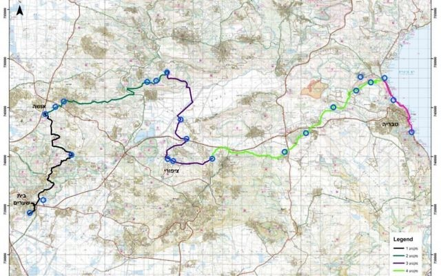 Drafting by Anastasia Shapiro and Yair Amitzur, Israel Antiquities Authority A map shows the planned route of the Sanhedrin Trail.