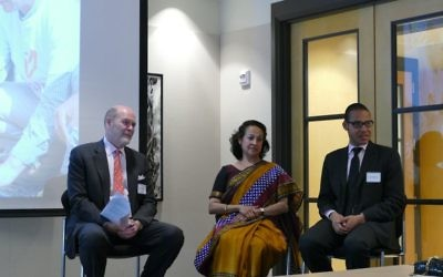 Retired U.S. State Department  Steven J. White (left), a former State Department official, India's Maina Chawla Singh and Israel's Shimon Mercer-Wood discuss the India-Israel relationship.