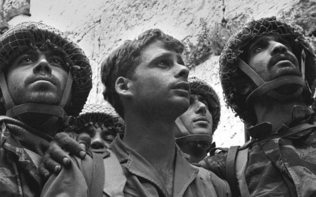 Photo by David Rubinger, Israeli Government Press Office In the most famous photo of the Six-Day War, Israeli paratroopers (from left) Zion Karasenti, Yitzhak Yifat and Haim Oshri stand in front of the Western Wall shortly after its liberation June 7, 1967.