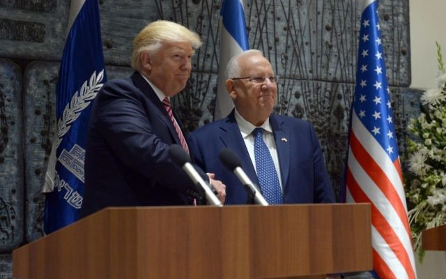 President Donald Trump visits Israeli President Reuven Rivlin at his official residence in Jerusalem. (Photo by Haim Zach, Israeli Government Press Office)
