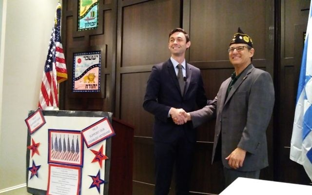 Jewish War Veterans Post 112 commander Robert Max thanks Jon Ossoff for speaking to the group May 21.