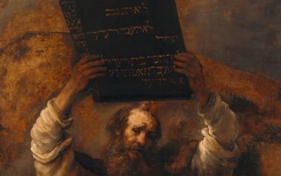 This is a detail from Rembrandt's depiction of Moses with the Ten Commandments -- and his hands up.