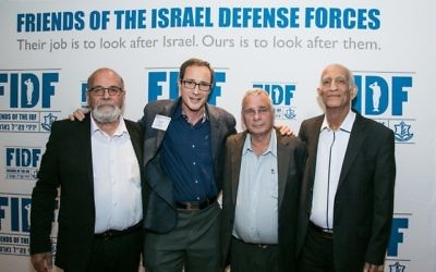 "Joel Alpert poses with the iconic paratroopers of the Six-Day War: (from left) Zion ""Zigi"" Karasanti, Yitzhak Yifat and Haim Oshri."