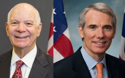 Sens. Ben Cardin (D-Md., left) and Rob Portman (R-Ohio) are the lead sponsors of the proposed Israel Anti-Boycott Act.