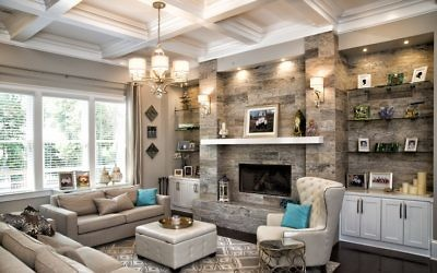 The open living room has a chaletlike neutral ambience with a pop of turquoise.