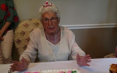 Sylvia Stroger celebrates her 95th birthday at a party in June.