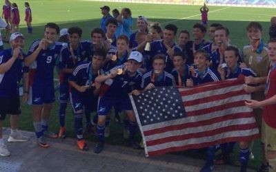 Brent Rodgers won gold as a member of the junior men's U.S. soccer team. (Photo courtesy of Maccabi USA)