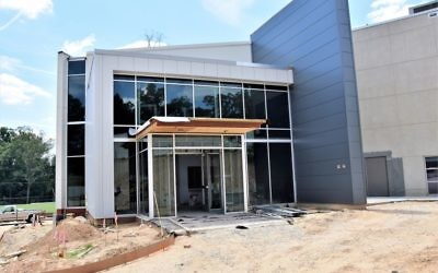 The new entrance to the AJA Upper School in Sandy Springs will be ready when school starts Aug. 14.