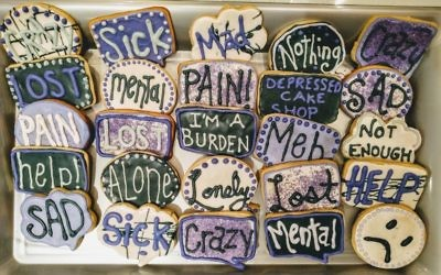 Sophie Knapp baked these cookies in partnership with the Depressed Cake Shop to help raise awareness about mental health.