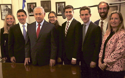 In recognition of their roles as young leaders and founding members of AJC's LFT program, five LFT alumni (three students from LFT NYC and two from LFT Chicago) were invited to Jerusalem for a private meeting with Prime Minister Benjamin Netanyahu in May.