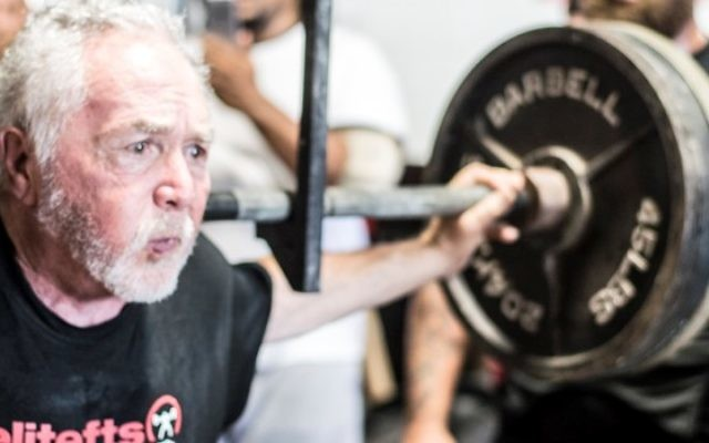 In his 70s, Jeff Guller remains a familiar figure at powerlifting events.
