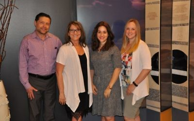 Working to grow Congregation Beth Tefillah are (from left) Reuven Gartner, the COO; Susan Horwitz, the office manager; Chaya Morris, the director of finance; and Miriam Habif, the director of membership.