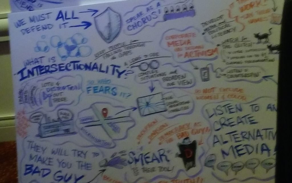 Graphic notes reflect the panel discussion on intersectionality at the Netroots Nation conference Aug. 11.