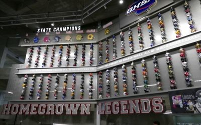 A display on the lower level of Mercedes-Benz Stadium honors Georgia's rich history of high school football.