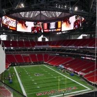 The view from the upper level. The stadium's Halo Board is the largest video board in U.S. Sports and is 58 feet tall, 1,100 feet around and covers 63,800 square feet.