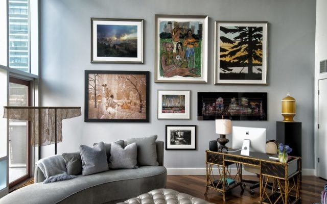 "The works on display in the living room include ""Blue Ridge Paper Mill"" by Jeff Rich, ""Raining Popcorn"" by Sandy Skoglund, ""Fiddling Mykkis"" by Joseph Geagan, ""Hong Kong — 6,426 per km2"" by Greer Muldowney, ""Twilight 2"" by Alex Katz and ""New York Times Square at Night"" by Thomas Kellner. Chinese aristocracy used the 18th century bamboo woven textile (left) to protect silk garments."