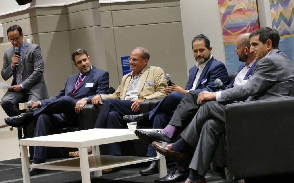 Speaking to the Collective crowd Aug. 30 are the leaders of five of the most important nonprofits in Jewish Atlanta: (from left) Rabbi Peter Berg, Eric Robbins, Rick Aranson, Jared Powers and Harley Tabak.