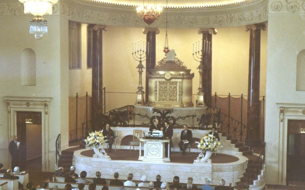The Temple celebrates its centennial with a Sunday service April 23, 1967. Rabbi Jacob Rothschild is seated on the left, and Rabbi Richard J. Lehrman is on the right. (The Temple Records, Cuba Family Archive, Breman Museum)