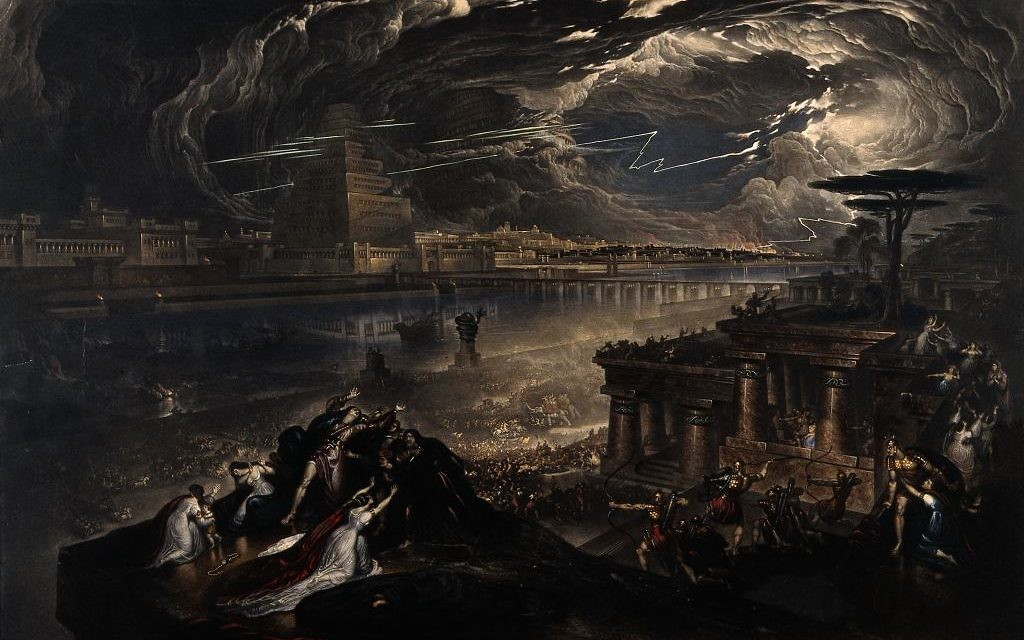 Cyrus the Great of Persia conquers Babylon in an 1831 mezzotint by J. Martin, after his 1819 work. Cyrus' victory allowed the Jews to return to Judaea and rebuild the Temple, but they delayed the work for a decade.