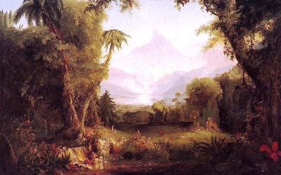 "Thomas Cole presents his vision of ""The Garden of Eden"" from about 1848."