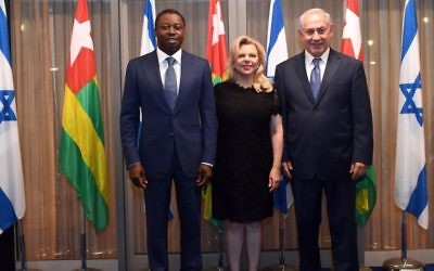 Photo by Haim Zach, Government Press Office A little more than a month before canceling October's planned Israel-Africa summit in his nation, Togo President Faure Gnassingbé visits Sara and Benjamin Netanyahu at the Prime Minister's Residence in Jerusalem on Aug. 7.