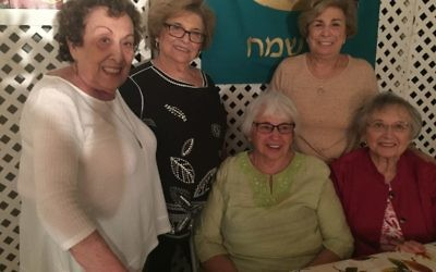 Enjoying Jeanine and Zvi Bekerman's sukkah in Dunwoody are (from left) Rose Sowadsky, Renee Weiss, Phyllis Grocoff, Leila Sultzer and Shelly Lawrence.
