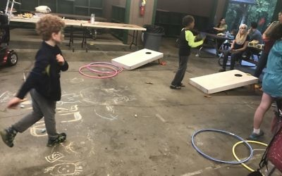 Children find plenty of activities safe from the rain.