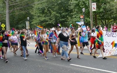 Students from Agnes Scott college march in the 2017 Atlanta Pride parade.