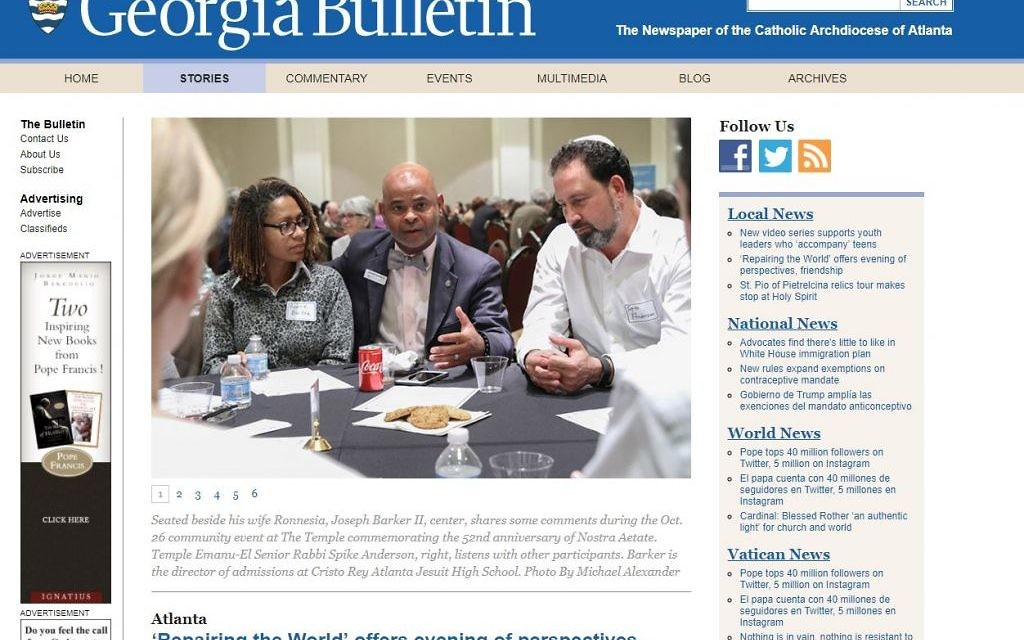 """For a Catholic perspective on the """"Repairing the World"""" event, visit The Catholic Bulletin at https://georgiabulletin.org/news/2017/11/repairing-world-offers-evening-perspectives-friendship/."""