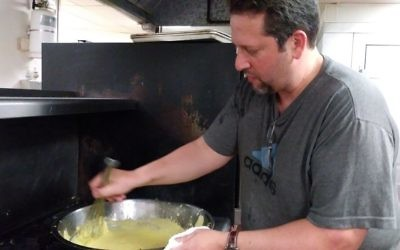 Chef Mark Hennessey whips up the hollandaise sauce.