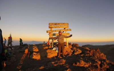 Jared King reaches his goal on Kilimanjaro.