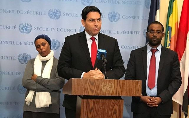 Danny Danon, Israel's ambassador to the United Nations. speaks Nov. 20 in support of the efforts of Agarnesh and Ilan Mengistu to win the freedom of Avera Mengistu.