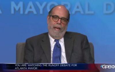 Bill Nigut introduces the GPB mayoral runoff debate Nov. 28.