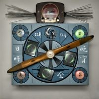 """Nam June Paik's """"Time Flies Diagonally"""" is made from old television tubes, neon and video displays."""
