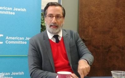 Alexander Görlach describes Islam in Europe at an American Jewish Committee lunch with the American Council on Germany on Dec. 11.