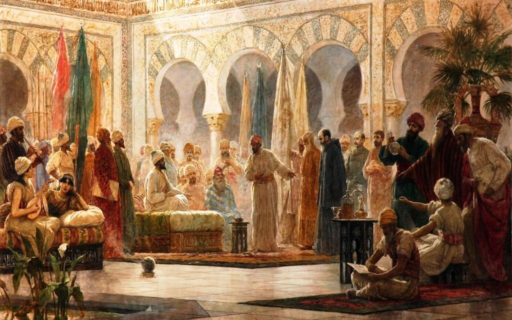 John of Gorze, the ambassador of Otto I, arrives at the court of Caliph Abd-ar-Rahman III, where Hasdai ibn Shaprut serves as a crucial go-between, in an 1885 painting by Dionisio Baixeras Verdaguer.