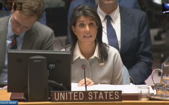 U.S. Ambassador Nikki Haley addresses the rest of the U.N. Security Council on Dec. 8. (YouTube screen grab)