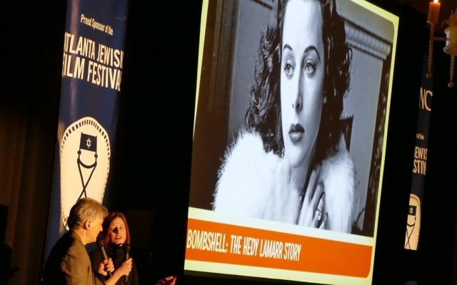 """Matthew Bernstein and Genevieve McGillicuddy discuss the documentary """"Bombshell: The Hedy Lamarr Story"""" at the 2018 AJFF launch party Jan. 4."""