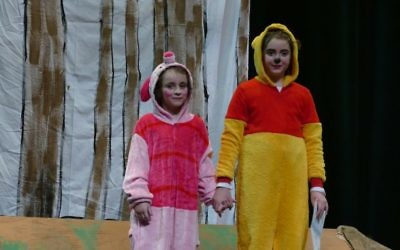 Piglet and Pooh (fourth-grader Rebecca Hatami) decide to ask for help finding Christopher Robin.