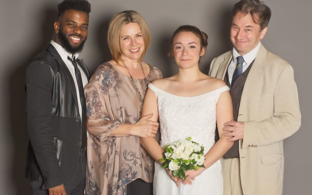 """""""The Mystery of Love and Sex"""" features (from left) Terrance Smith as Jonny, Tiffany Morgan as Charlotte's mother, Lucinda, Rachel Wansker as Charlotte, and Donald McManus as Charlotte's father, Howard."""