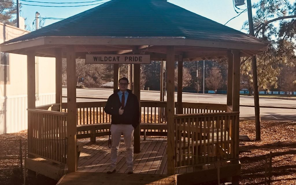 For his Eagle Scout project, Matt Bartel worked every weekend for five months to build this gazebo at Dunwoody High, whose construction was complicated by the eight-sided design.