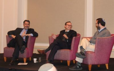 "Photo courtesy of the Marcus JCC (From left) Rabbis Peter Berg, Adam Starr and Ari Kaiman share a laugh during the finale of their ""Denominations"" class Dec. 11 at The Temple."